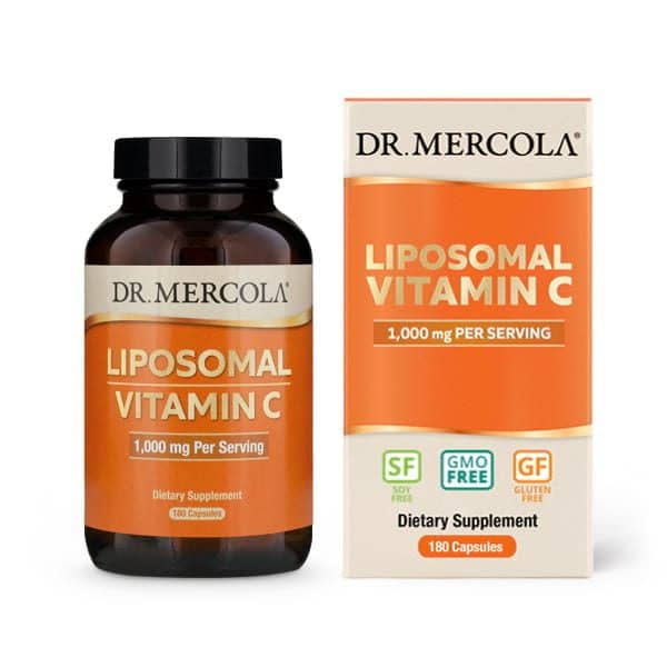 Dr Mercola's Liposomal Vitamin C (180 Licaps): 90 day supply in a bottle with the packaging box next to it on a white background