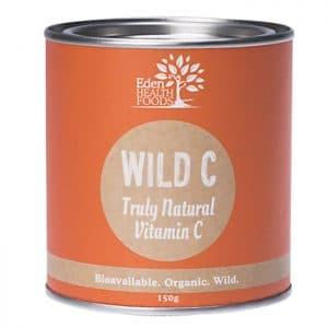 Eden Health Foods Wild C 150g in a sealed tin on a white background