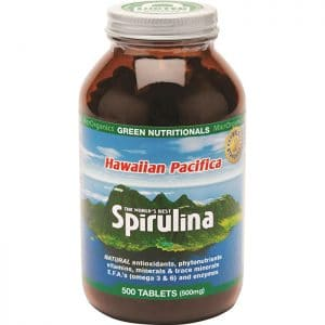 MicroOrganics Green Nutritionals Hawaiian Pacifica Spirulina in a bottle on a white background