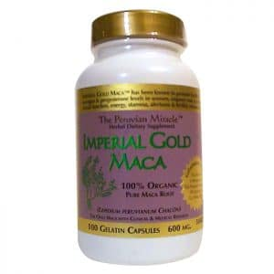 Imperial Gold® Maca Gelatinized (100 x 600mg caps) in a bottle on a white background