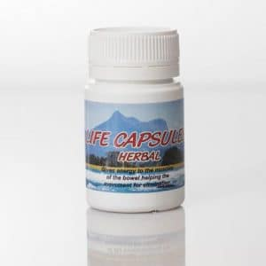Life Capsules (see new formula ReJuve Capsules) in a bottle on a white background