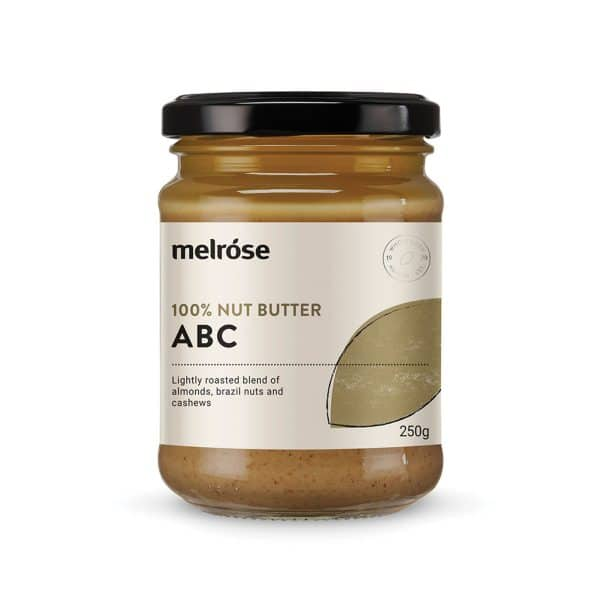 Melrose Nut Butter ABC 250g in a jar on a whitebackground