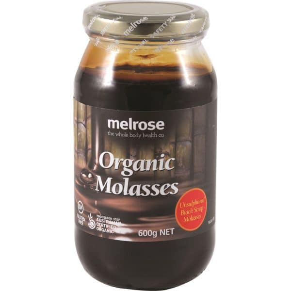 Melrose Blackstrap Molasses- Organic Unsulphured (600g) in a jar on a white background