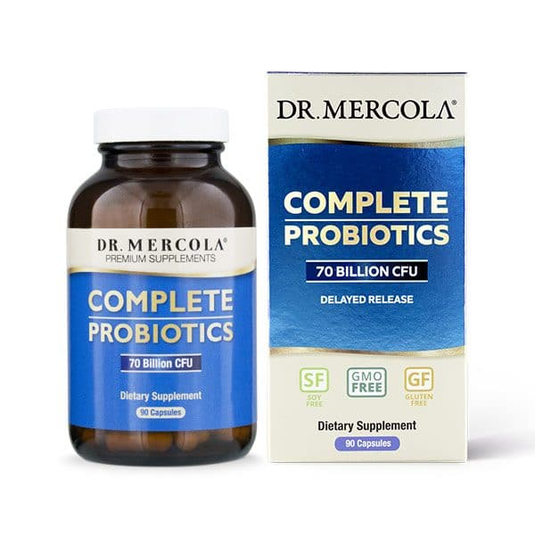 Dr Mercola's Complete ProBiotics (90 capsules - 3 month supply) in a bottle next to the packaging box on a white background