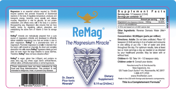ReMag™ - Dr Carolyn Dean's Pico-Ionic Magnesium Label