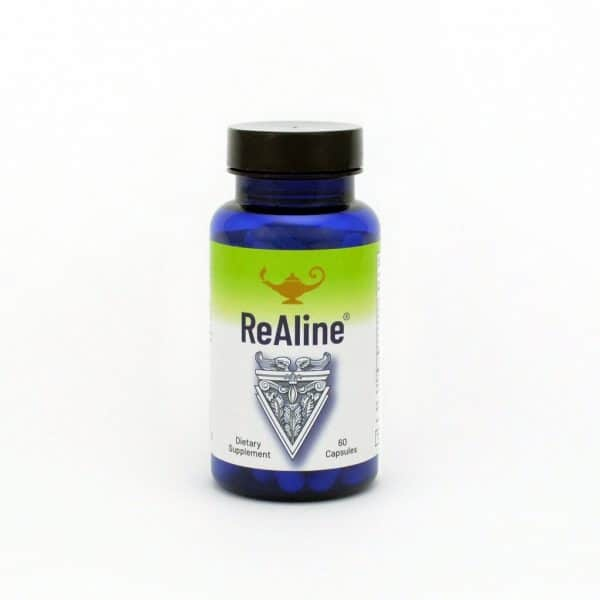 Dr Carolyn Dean's ReAline™ in a bottle on a white background