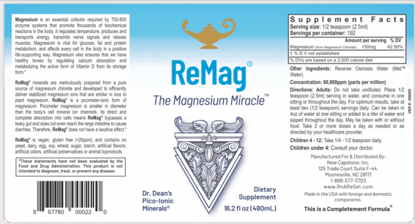 ReMag™ - Dr Carolyn Dean's Pico-Ionic Magnesium - 480 ml Label