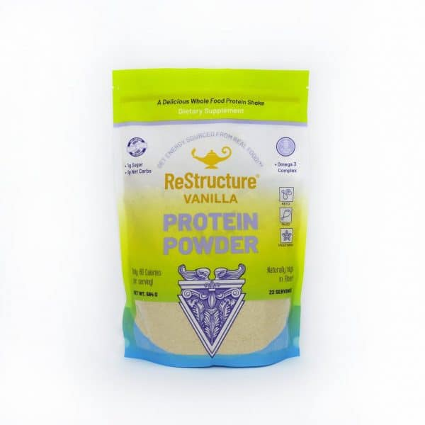 Dr Carolyn Dean's Restructure™ Protein Powder Vanilla in a sealed packet on a white background