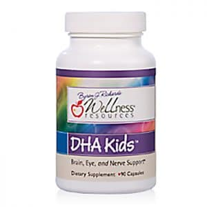 Wellness Resources® DHA Kids™ (90 capsules) in a bottle on a white background