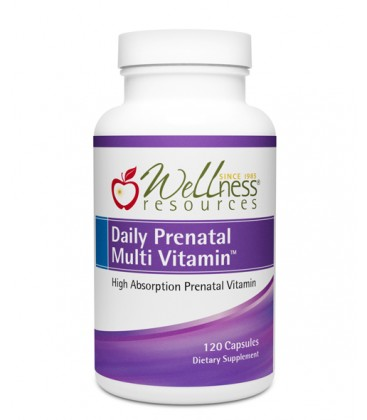 Wellness Resources® Daily Prenatal Multi Vitamin™ (120 capsules) in a bottle on a white background