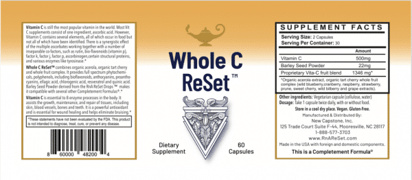 Dr Carolyn Dean's Whole C Re Set™ (60 capsules) in a bottle on a white background