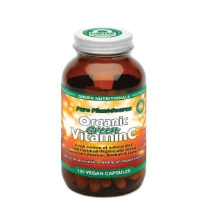 Green Nutritionals Organic Green Vitamin C (120 capsules) in a bottle on a white background