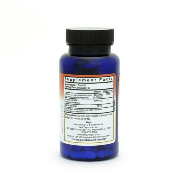 Dr Carolyn Dean's D3K2 ReSet- Vitamin D (60 capsules) - Supplement Facts - product image
