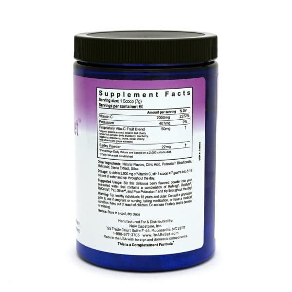 Vitamin C ReSet ™ Supplement Facts on back of bottle